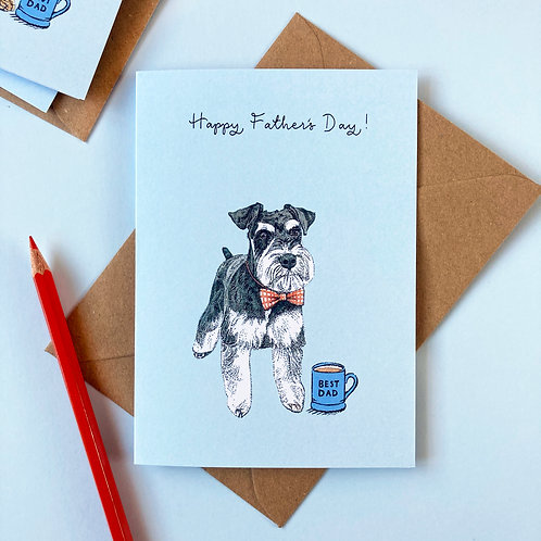 Schnauzer Dog Father's Day Greetings Card