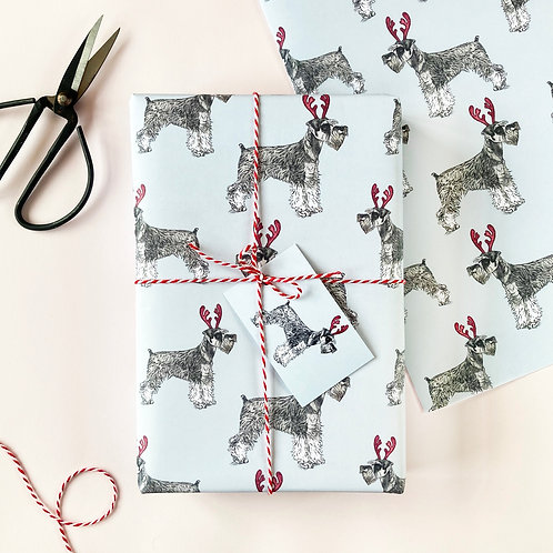 Festive Miniature Schnauzer Christmas Wrapping Paper