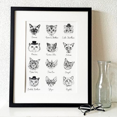 Cat Breeds Print