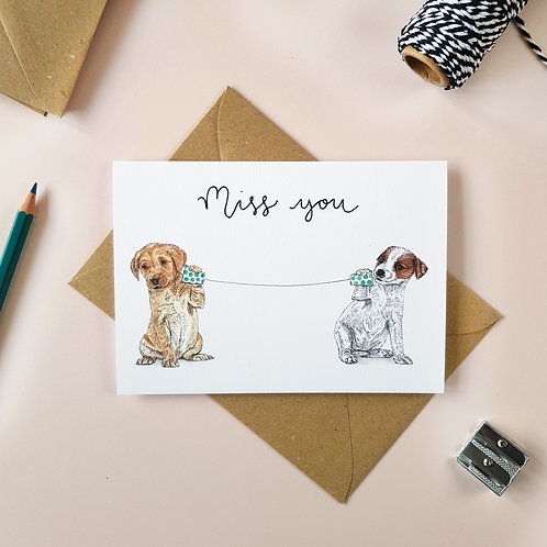 'Miss You' Puppy Dogs Greetings Card