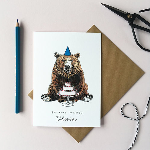 Bear with a Cake Personalised Birthday Card