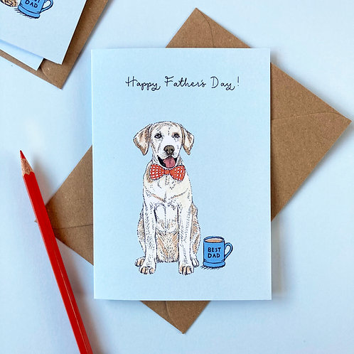Yellow Labrador Dog Father's Day Greetings Card