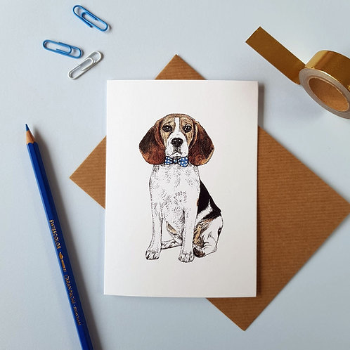 Beagle in a Bow Tie Greetings Card