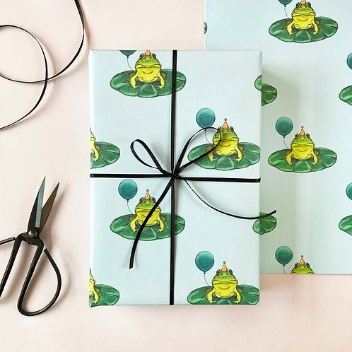 Frog with a Balloon Birthday Wrapping Paper