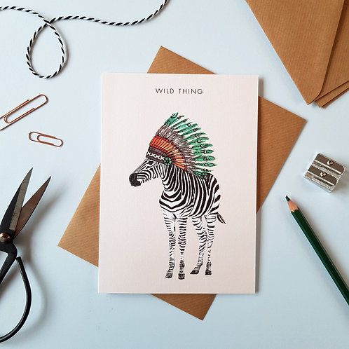 'Wild Thing' Zebra Greetings Card
