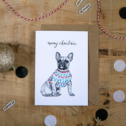 French Bulldog in a Jumper Christmas Greetings Card