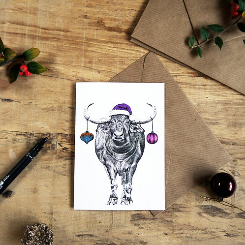 Water Buffalo with Baubles Christmas Greetings Card