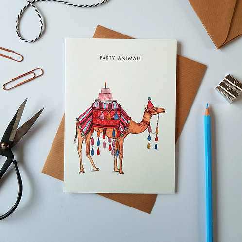 'Party Animal!' Camel Greetings Card