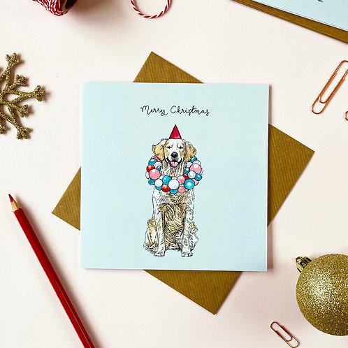 Festive Golden Retriever Christmas Card