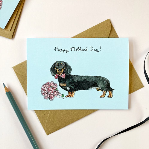 Black/Orange Dachshund Mother's Day Card
