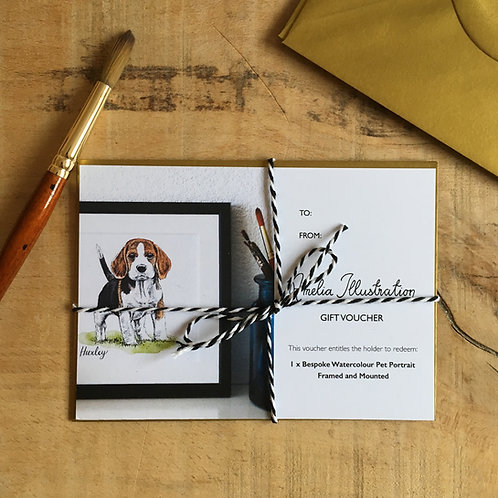 Gift Voucher for Personalised Watercolour Pet Portrait