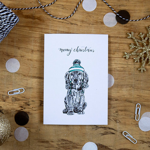 Cocker Spaniel Dog in a Hat Christmas Greetings Card
