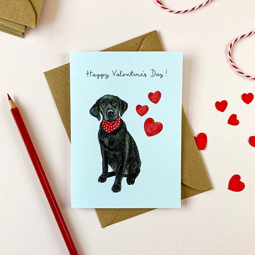 Black Labrador Valentine's Day Card