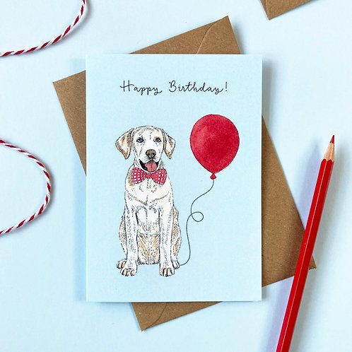 Yellow Labrador Dog Birthday Greetings Card