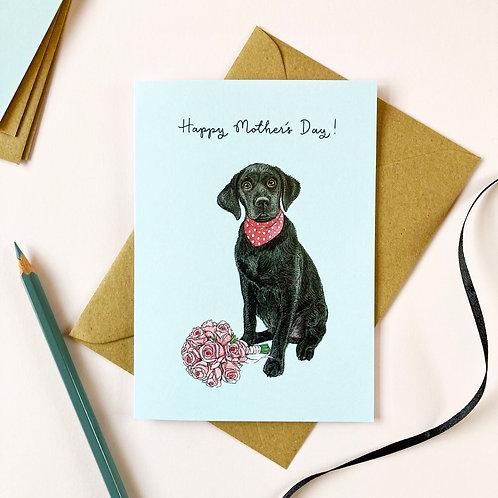 Black Labrador Mother's Day Card