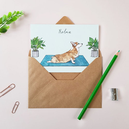 'Relax' Corgi Greetings Card
