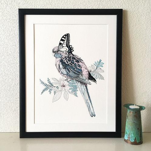 Bird/Butterfly Giclée Print (Pale Pink)
