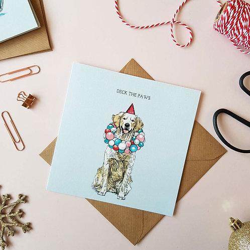 'Deck The Paws' Festive Labrador Christmas Card