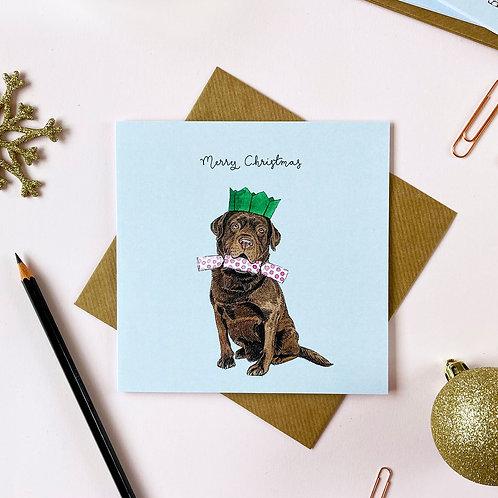 Festive Chocolate Labrador Christmas Card