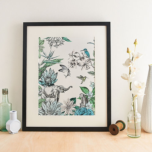 Elephant and Flowers Giclée Print