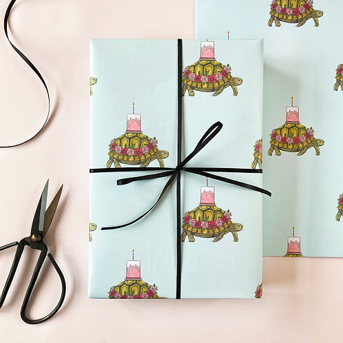 Tortoise with a Cake Birthday Wrapping Paper