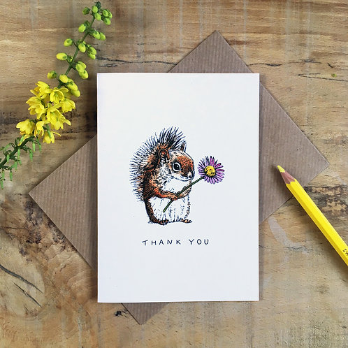 Squirrel with a Flower Thank You Card