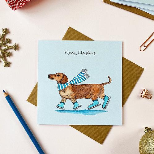Festive Dachshund Christmas Card
