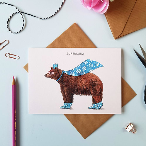 'Supermum' Bear Mother's Day Card