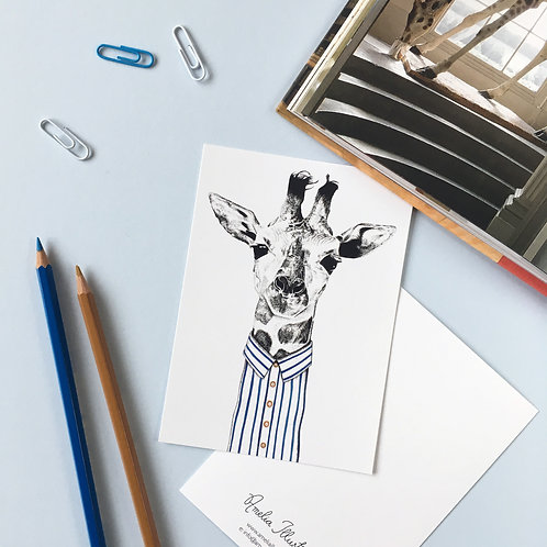 Giraffe in a Shirt A6 Postcard