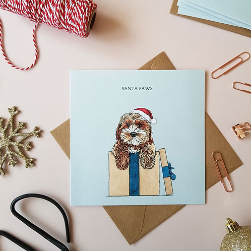 'Santa Paws' Festive Cockapoo Christmas Card