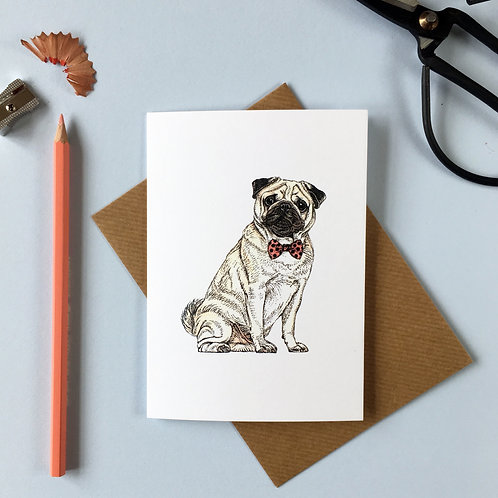 Pug in a Bow Tie Greetings Card