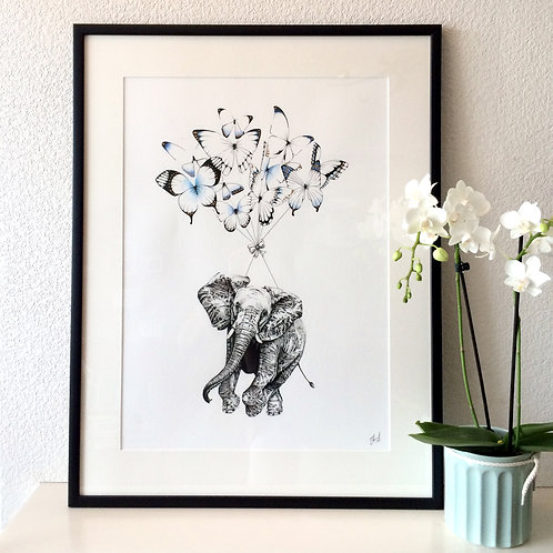 Elephant and Butterfly Parachute Giclée Print