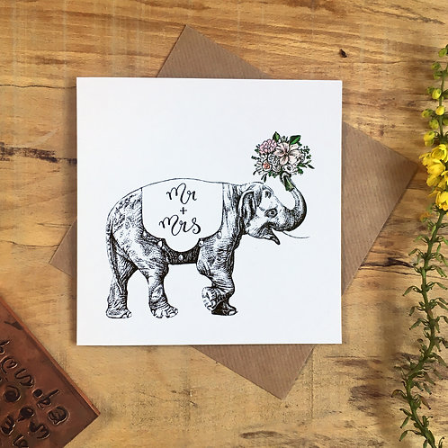 Elephant with a Bouquet Mr and Mrs Wedding Card
