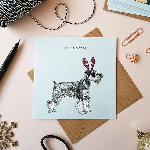 'Feliz Navi Dog' Miniature Schnauzer Christmas Card
