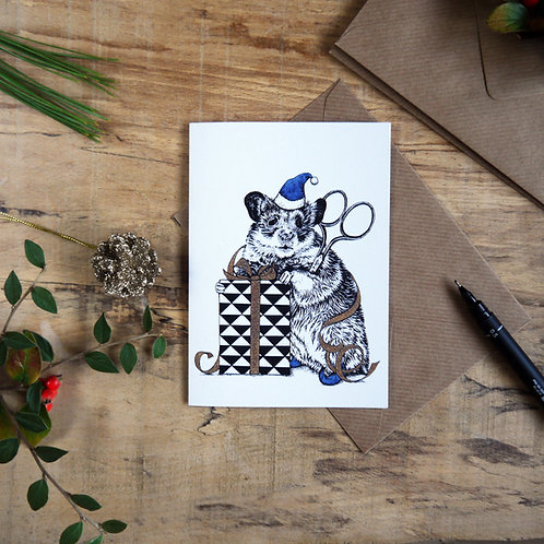 'Santa's Helper' Mouse Christmas Greetings Card