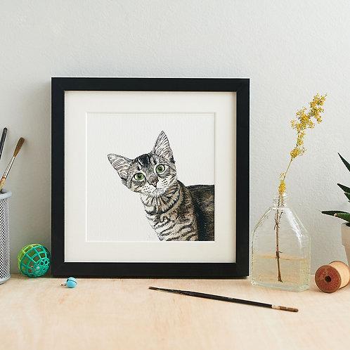 Peeking Cat Giclee Art Print
