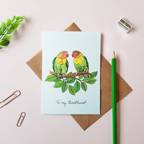 'To My Tweetheart' Parrot Greetings Card