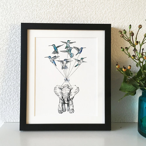 Elephant with Hummingbirds Giclee Print
