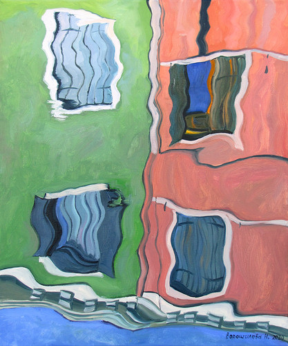 Reflection. Greenist-red, 60x50 cm, 2020