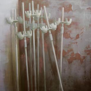 """Полина Синяткина, """"Прихожая"""" из серии """"Ты не захочешь это знать"""", холст, темпера, 2018"""