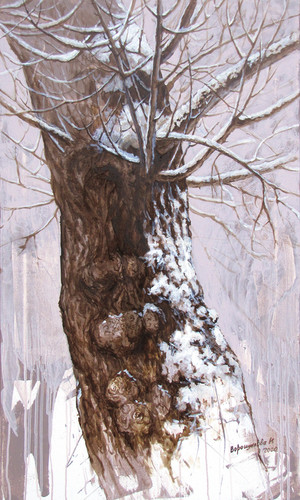 Poplar in winter, 100x60 cm, 2020