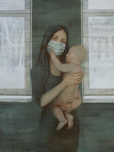 "Полина Синяткина, ""Мать"", 90х100 см, темпера, 2016"