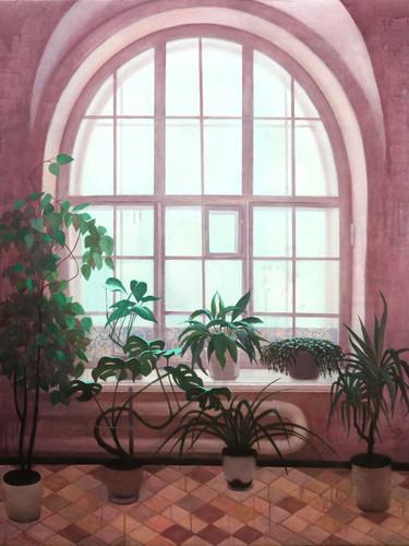 """Полина Синяткина, """"Цветы в прихожей"""", 140х110 см, акрил, 2020"""