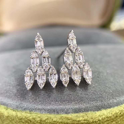 18K Solid Gold Triangle Shape Earrings with Diamond