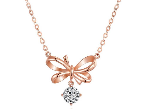 Bow Shape Pendant with Solitaire Diamond in 18K Real Gold Necklace