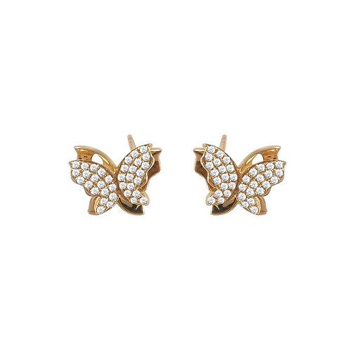 18K Real Gold Butterfly Shape Stud Earrings