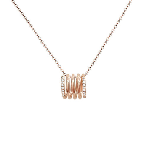 Spring Pendant with Diamonds in 18K Solid Gold Necklace