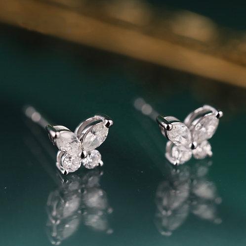 18K Solid Gold Butterfly Shape Natural Diamond Drop Earrings