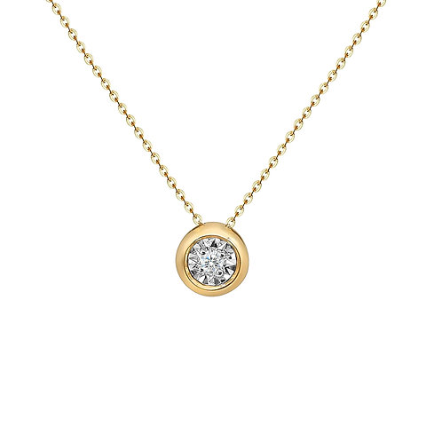 Bubble Pendant with Diamonds in 18K Solid Gold Necklace