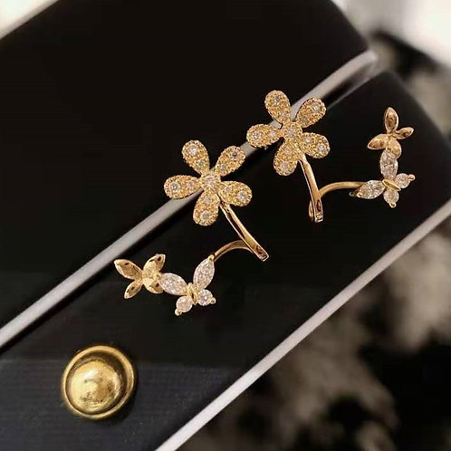 18K Solid Gold Flowers Stud Earrings